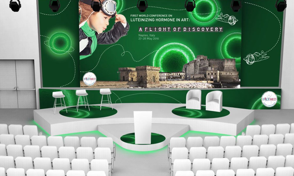 First world conference on luteinizing hormone medical & education grafica render allestimento sala